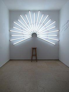 bluebirdsfloat:    Yochai Matos - You Are a SaintAn infrastructure for self photo-shooting as a saint.  Fluorescent light installation, 2011185 x 270cm (73 x 106 inch)