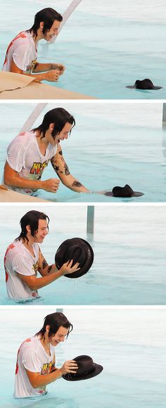 "I'm pretty sure that hat just wants to leave. ""I've had enough with your hair, Harry. You take me up to high atmospheres on a hike, you wear me every day, and now you drop me in the water. I'm done with you. I hate you. Get a haircut."" This hat isn't a happy hat guys."