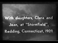 Silent film footage taken in 1909 by Thomas Edison at Stormfield (CT) at Mark Twain's estate. Twain is shown walkng around his home and playing cards with his daughters Clara and Jean. The flickering is due to film deterioration, but this is the only known footage of the great author.