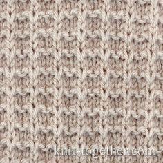 Square Stitch Pattern of Loop Stitches, knitting pattern chart, Squares, Diamonds, Basket Stitch Patterns