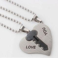 Titanium steel 2pcs/set key in heart Valentine's necklaces for couples