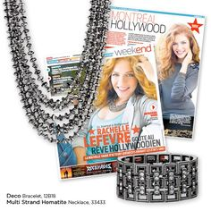 Look how stunning Canadian actress Rachelle Lefevre of Twilight looks wearing the exquisite multi-strand Hematite necklace and Deco stretch bracelet, both from the Spring/Summer 2011 Kiam collection, in a recent issue of Le Journal de Montréal.