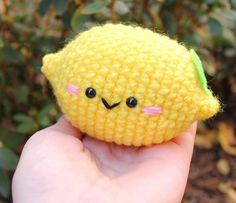 "Free Amigurumi Food Patterns – Super Cute Kawaii!!So cute as a stress ball with ""when life gives you lemons..."" tag"