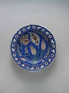 Blue-ground Dish with Floral Design ca. 1560 Geography: Turkey, Iznik