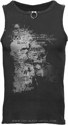Gothic tank-top for men, sleeveless, with skull print and metal ring, by Queen of Darkness.