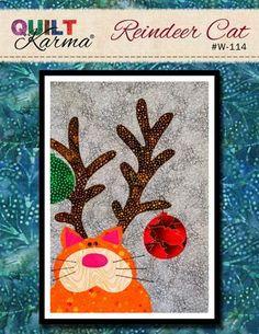 (7) Name: 'Quilting : Reindeer Cat - Quilt Karma