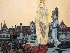 Art Nouveau illustrations for a 1904 German edition of Grimm's fairytales, the story of 'Marienkind'/ 'Mary's Child'. Illustrations by Heinrich Lefler and Joseph Urban