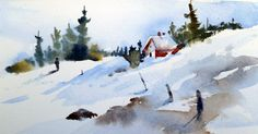 "Original Watercolor 5""x7""  For our last class of the fall quarter, I brought some demonstrations of snow scenes. This one shows pretty much ..."