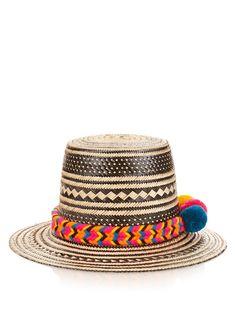 636e129079f Yosuzi s beige and black Iraka-palm straw Tulum hat is a bold take on a