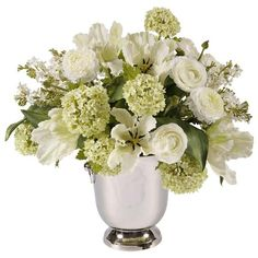 I pinned this Faux Garden Flower Arrangement III in White from the French Country Accents event at Joss and Main!