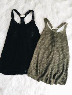 Gemma Knit Tank (Black,Olive)