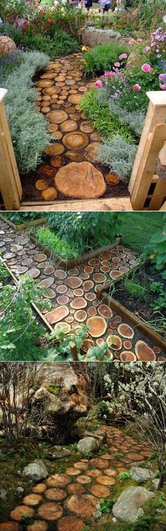 How to build a wood log pathway step by step DIY tutorial instructions / How To Instructions