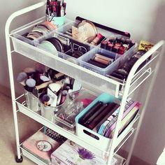 Nueva organización de maquillaje: El carrito #Hornavan ha sido el elegido #makeupstorage