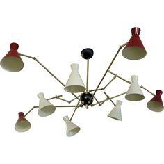 really want this 10 Arm Adjustable Ceiling Light Fixture from Chaplin Chaplin Trimble Ceiling Pendant, Ceiling Fan, Ceiling Lights, D Lighting, Cool Chandeliers, Art Decor, Decoration, Home Decor, Creative Lamps
