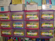 Teacher organization- monthly drawers that have holiday/theme related materials to teach each month.  ALSO: New student drawer; keep two of everything for the potential unannounced new students