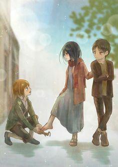 Eren Armin and Mikasa Attack on Titan Attack On Titan Fanart, Attack On Titan Season, Attack On Titan Funny, Ereri, Naruto, Kuroko, Tokyo Ghoul, Eren X Mikasa, Aot Armin