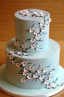 Wedding Cakes Pictures: Blue Cherry Blossom Wedding Cake