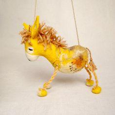 Viruka  Yellow Felt Donkey Art Toy Felted Stuffed by TwoSadDonkeys