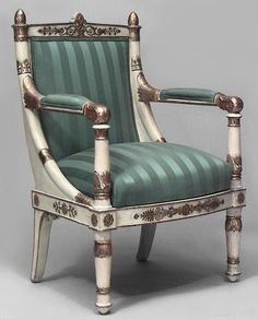 PAIR of French Empire ivory painted open arm chairs with gilt trim and green stripe upholstered seat and back Funky Furniture, Furniture Styles, Luxury Furniture, Furniture Makeover, Antique Furniture, Furniture Design, Dinning Chairs, Side Chairs, Neoclassical Interior