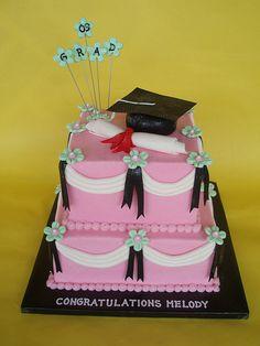 Feminine Graduation Cake by CakesUniqueByAmy.com, via Flickr
