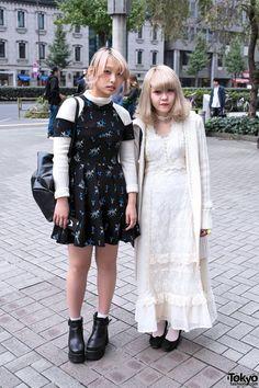 Sofy and Masano are two stylish girls who we met in Shinjuku.  Long Vintage Grimoire Dress & Sretsis