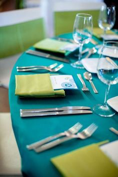 Turquoise and Lime Tablescape – shared on Style Me Pretty