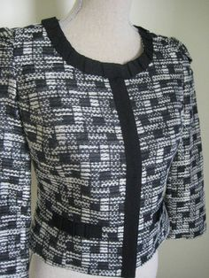 Review Black And White Size 8 US 4 UK 8 Short Collarless Jacket With 3/4 Length Sleeves