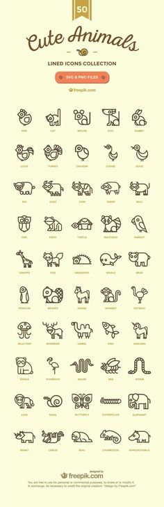 Icon design - Cute Animals - lined icon collection Doodle Drawing, Drawing Tips, Doodle Art, Drawing Ideas, Bunny Drawing, Unicorn Drawing, Icon Design, Logo Design, Sketch Note