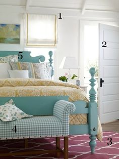 did i pin this already? perfect colors and styles for our bedroom. aqua blue, yellow, gray (and some red).