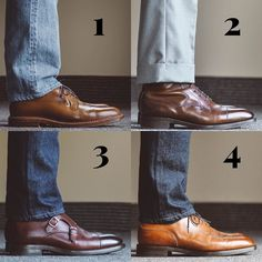 Round up! Always love hearing everyones favorite combo go! 1 Alden whiskey shell PTB and 107 3 year wash 2 dark oak Galway and trousers 3 double monks and 601 4 Dover and 601 . Carlos Santos Shoes, Your Shoes, Men's Shoes, Stylish Men, Men Casual, Edward Green, Men's Footwear, Shoe Company, Goodyear Welt