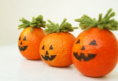 The little jack-be-little pumpkins are nearly impossible to carve. Here's a cute alternative. Use food coloring to paint the faces so the tangerine/orange is still edible.  ~cam