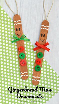 Transform basic craft sticks into this super cute gingerbread man ornament for your Christmas tree. Transform basic craft sticks into this super cute gingerbread man ornament for your Christmas Easy DIY Christmas Ornaments for Kids - The Thrifty K Kids Crafts, Craft Stick Crafts, Preschool Crafts, Craft Sticks, Craft Ideas, Popsicle Sticks, Kindergarten Christmas Crafts, Christmas Crafts For Children, Easy Crafts