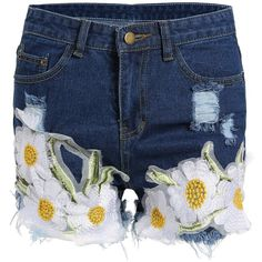 Floral Embroidered Frayed Denim Shorts (€14) ❤ liked on Polyvore featuring shorts, frayed denim shorts, frayed shorts, jean shorts, denim shorts and frayed jean shorts