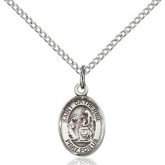Solid.925 Sterling Silver Saint St. Catherine of Siena 1/2 x 1/4 Patron Of Prevention Medal Pendant On a 18 Sterling Silver Curb Chain Necklace Gift Boxed