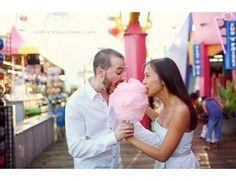 Ensaio de noivos no parque de diversões