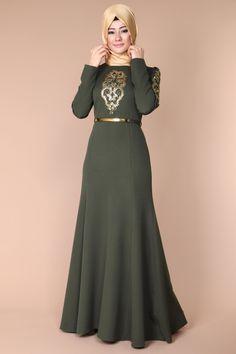 Omuzları Pul Payet Elbise KNZ3053 Haki - ModaSelvim