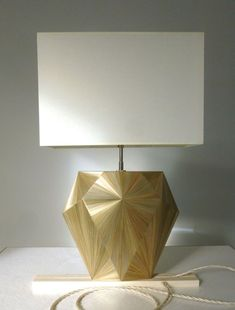 "A custom made Straw Marquetry ""Valerie"" Lamp for a superyacht project with sea fastenings. Possible to change the straw color, the bulb holder color and/or the cord color"