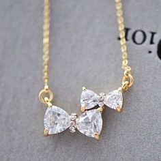 Cute Two Bowknot Rhinestone Pendant Necklace|Fashion Necklaces - Womens Accessories - ByGoods.com