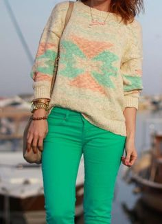 Mint and sweater.
