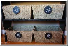 chalkboard labels #baskets #chalkboard #labels #storage #organize