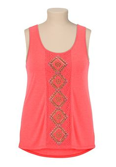 High-Low Stud Embellished plus size Tank (original price, $29) available at #Maurices