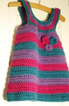 Sylvie Striped Baby Dress Crochet pattern by Joanne Scrace Crochet Girls, Crochet Baby Clothes, Crochet For Kids, Crochet Dresses, Baby Patterns, Knitting Patterns, Crochet Patterns, Dress Patterns, Crochet Jumper