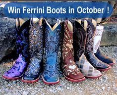 Win your choice of Ferrini Boots in October. (up to $275 in value) We Love our Fans! Ends 10/31/15.