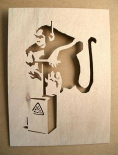 Banksy Monkey Detonator Wooden Stencil by existencil on Etsy