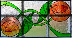 Roses stained glass panel (inspired by a Rennie MacKintosh design) - Maid on the Moon Studio