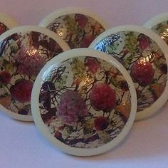 Hand Painted Floral Collage Wooden Knob - home accessories
