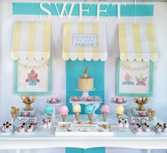 Summer Ice Cream Party Summer Ice Cream Party details to LOVE…. ♥ The sweetest Ice Cream Parlour party backdrop ♥ Single ganache topped cake with ice cream topper ♥ Gorgeous ice cream shaped cookies ♥ Fabric ice cream props ♥ Sundae cupcakes  Styling By Anabella Calatayud Argentina – Celebremos Producción de eventos How adorable is this Summer Ice Cream Party! A gorgeous pastel … Read more...