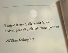 He loved death, she loved life, he lived for her , she died for him. William Shakespeare.