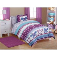 mainstays kids camping bed in a bag bedding set walmart from Toddler Girl Twin Bedding SetsToddler Girl Twin Bedding Se Full Comforter Sets, Kids Bedding Sets, Bed Sets, Purple Comforter, Purple Bedding Sets, Butterfly Bedroom, Purple Butterfly, Butterfly Kisses, Butterfly Pattern