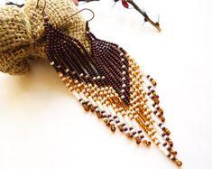 Beaded long earrings with fringe Earrings native by Galiga on Etsy